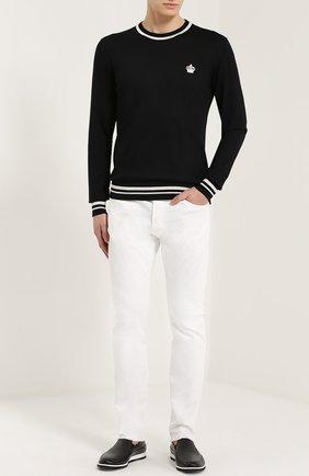 Шерстяной джемпер с контрастной отделкой Dolce & Gabbana черный | Фото №2