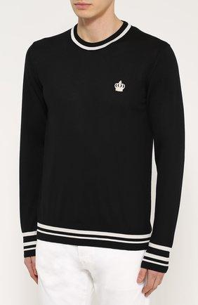 Шерстяной джемпер с контрастной отделкой Dolce & Gabbana черный | Фото №3