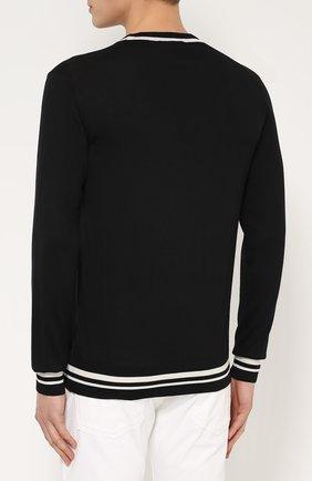 Шерстяной джемпер с контрастной отделкой Dolce & Gabbana черный | Фото №4