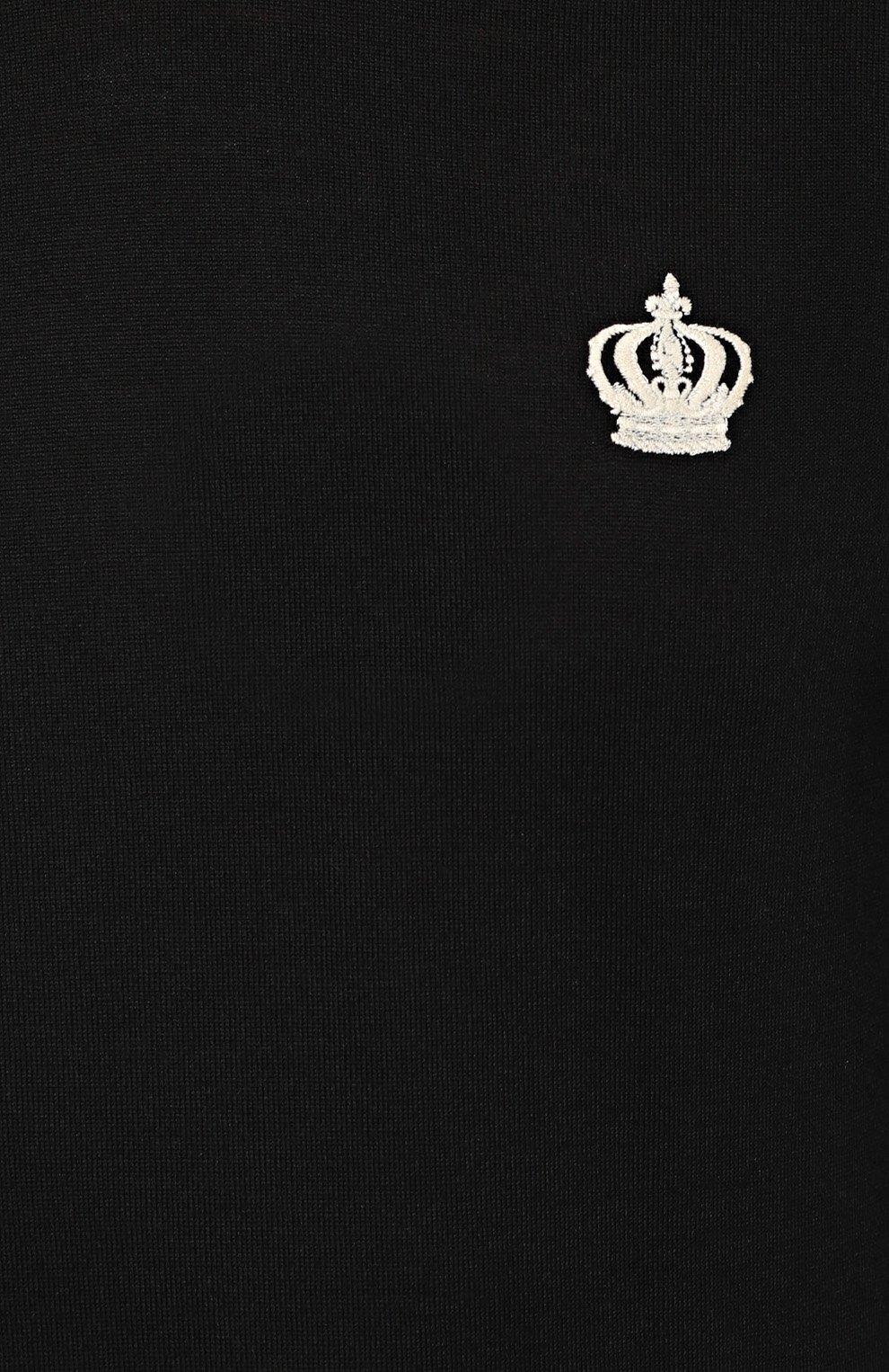 Шерстяной джемпер с контрастной отделкой Dolce & Gabbana черный | Фото №5