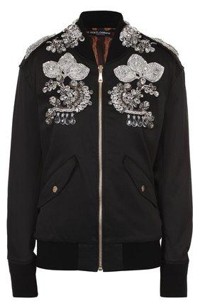 Бомбер на молнии с контрастной отделкой Dolce & Gabbana черная | Фото №1