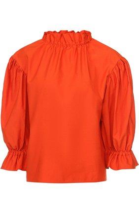 Топ прямого кроя с укороченными объемными рукавами Atlantique Ascoli оранжевый | Фото №1