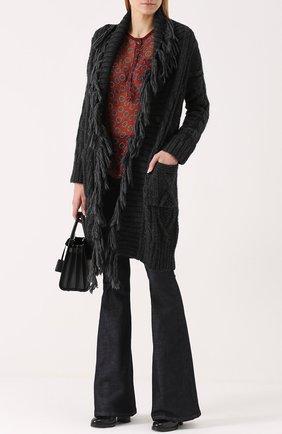 Удлиненный кардиган фактурной вязки с бахромой Denim&Supply by Ralph Lauren серый   Фото №1