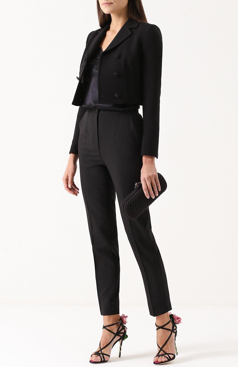 Укороченный двубортный жакет Dolce & Gabbana черный | Фото №2