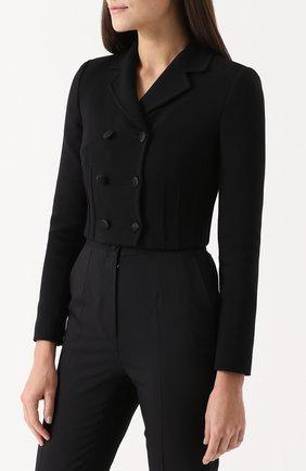 Укороченный двубортный жакет Dolce & Gabbana черный | Фото №3