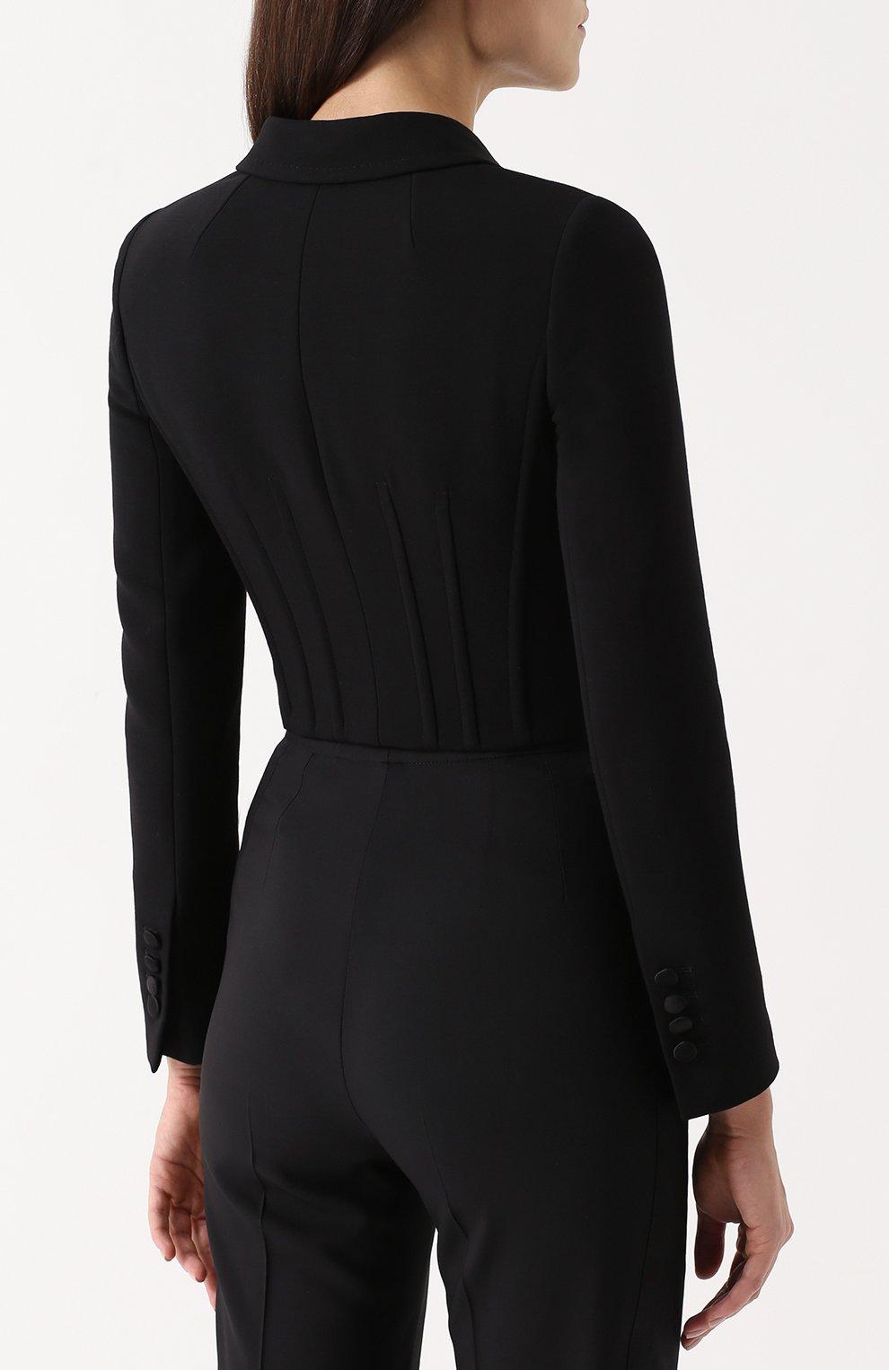 Укороченный двубортный жакет Dolce & Gabbana черный | Фото №4