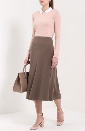 Женская расклешенная юбка-миди GIORGIO ARMANI бежевого цвета, арт. UAN08T/UA147   Фото 2