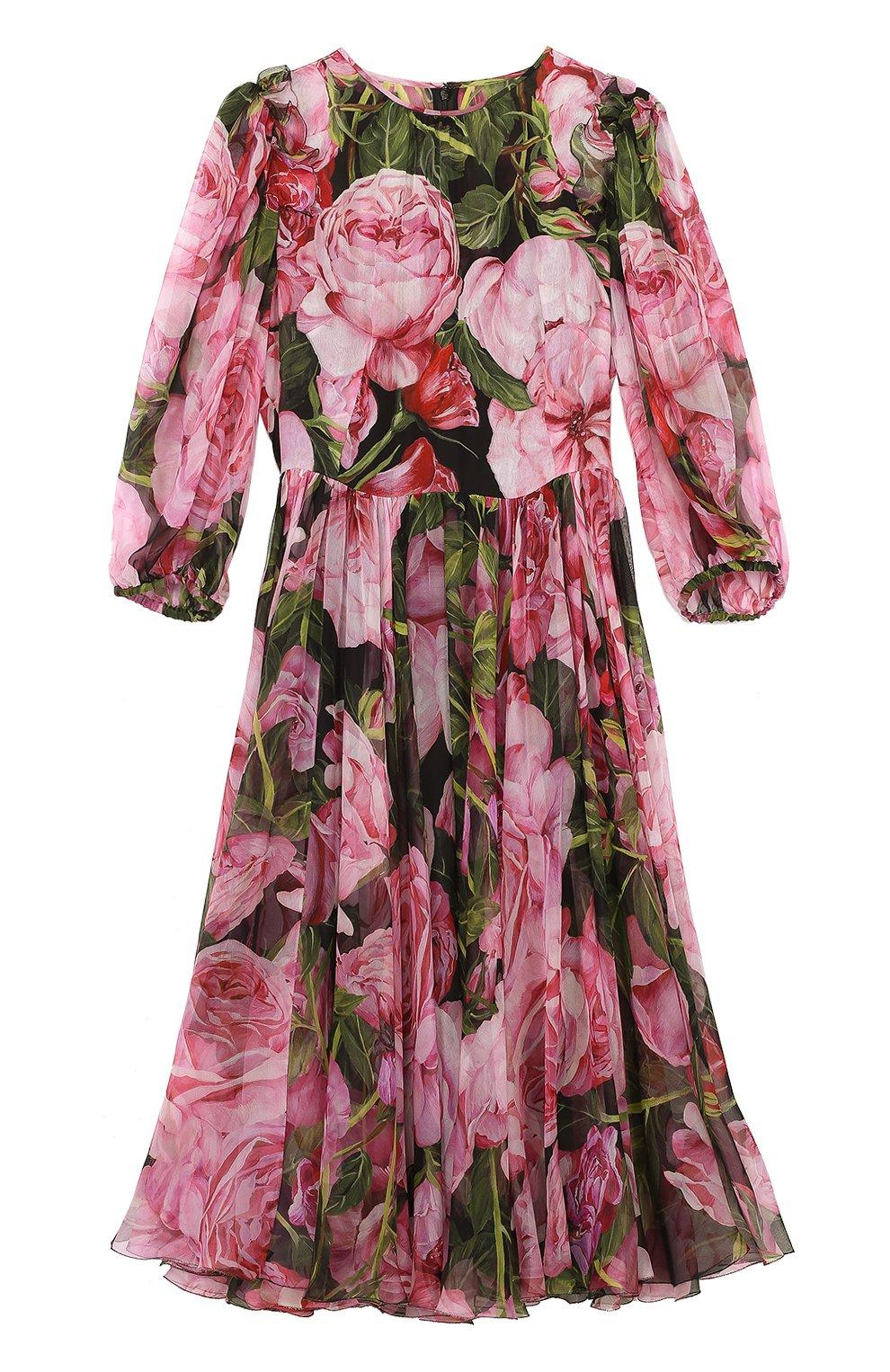 Шелковое платье-миди с цветочным принтом и круглым вырезом | Фото №1