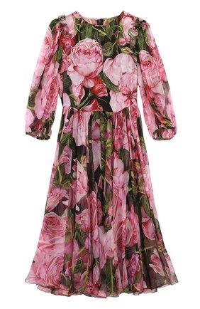 Шелковое платье-миди с цветочным принтом и круглым вырезом Dolce & Gabbana розовое | Фото №1
