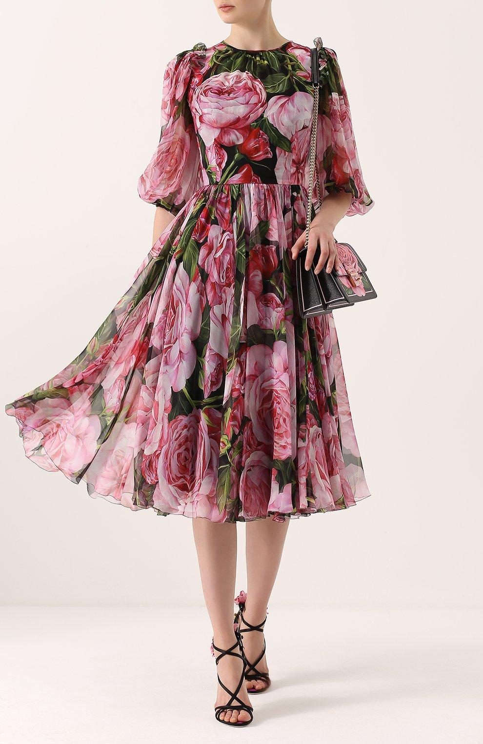 Шелковое платье-миди с цветочным принтом и круглым вырезом Dolce & Gabbana розовое | Фото №2