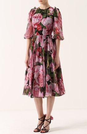 Шелковое платье-миди с цветочным принтом и круглым вырезом Dolce & Gabbana розовое | Фото №3
