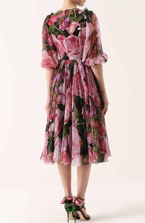 Шелковое платье-миди с цветочным принтом и круглым вырезом Dolce & Gabbana розовое | Фото №4