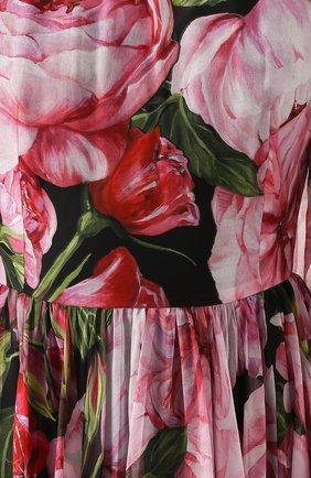 Шелковое платье-миди с цветочным принтом и круглым вырезом Dolce & Gabbana розовое | Фото №5