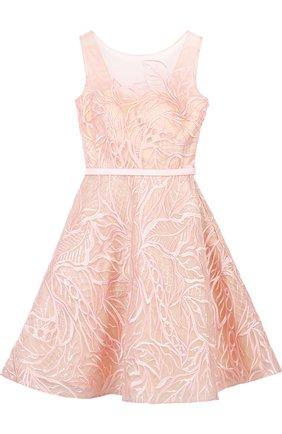 Приталенное мини-платье с вырезом на спинке и фактурной отделкой Basix Black Label розовое | Фото №1