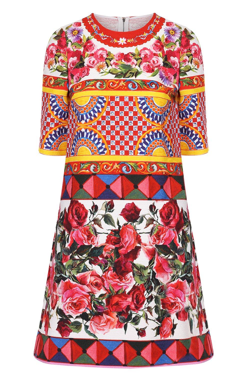 Платье А-силуэта с укороченным рукавом и ярким принтом   Фото №1