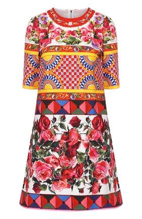 Платье А-силуэта с укороченным рукавом и ярким принтом Dolce & Gabbana разноцветное   Фото №1