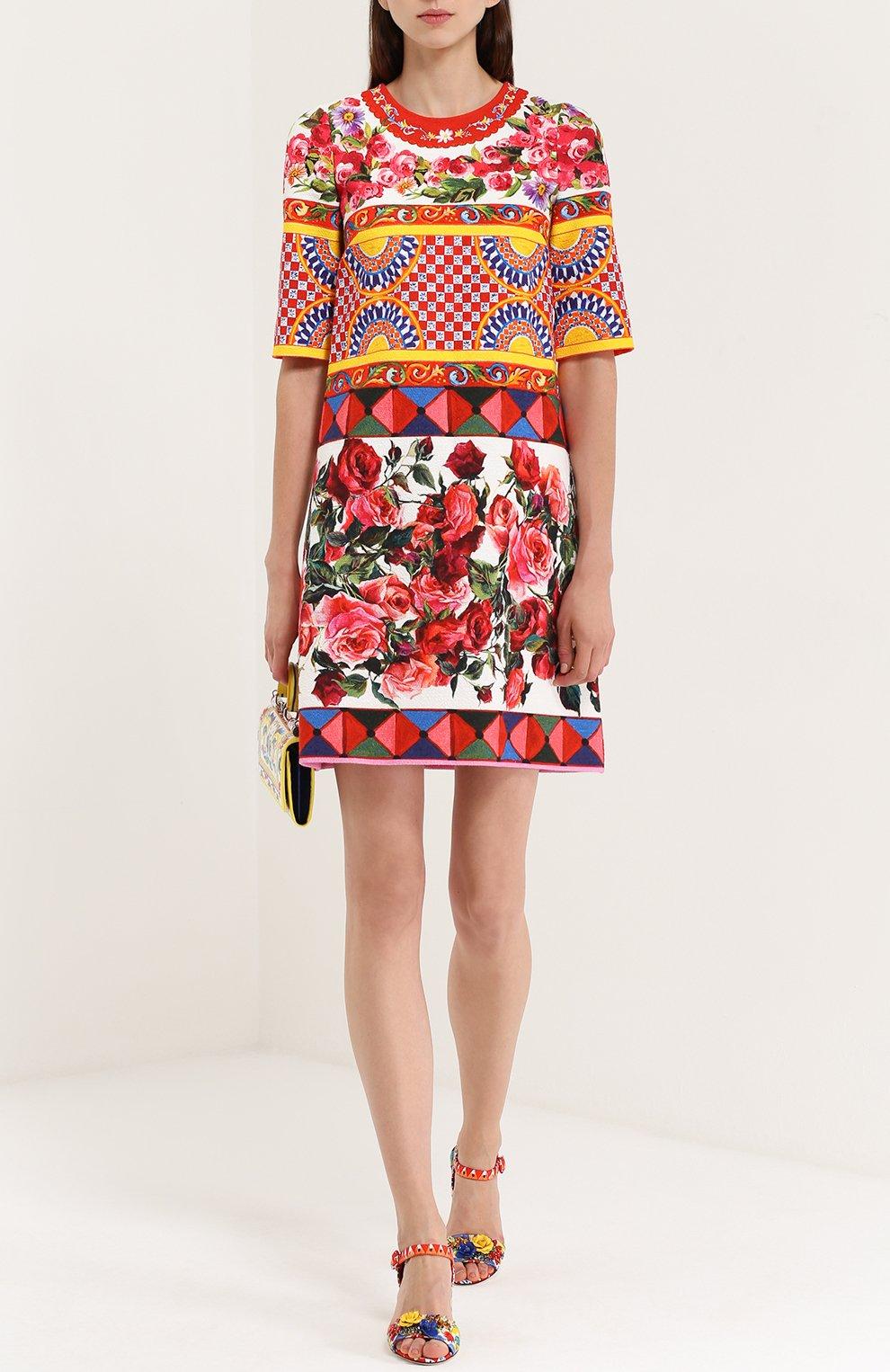 Платье А-силуэта с укороченным рукавом и ярким принтом Dolce & Gabbana разноцветное   Фото №2