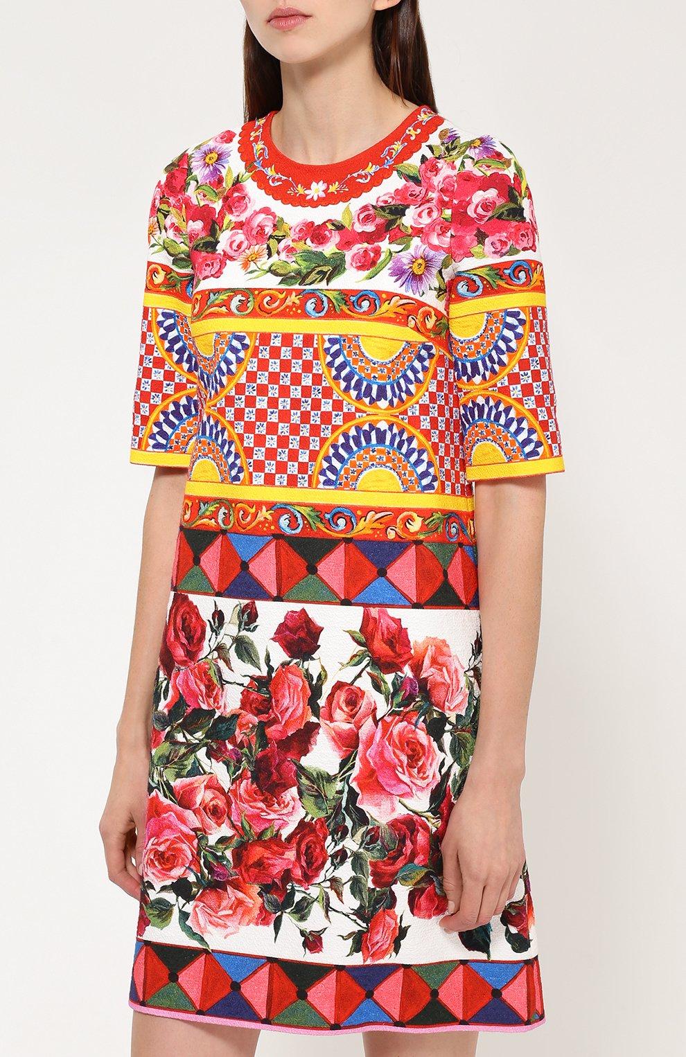 Платье А-силуэта с укороченным рукавом и ярким принтом Dolce & Gabbana разноцветное   Фото №3