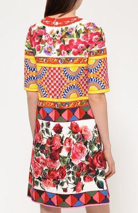 Платье А-силуэта с укороченным рукавом и ярким принтом Dolce & Gabbana разноцветное   Фото №4