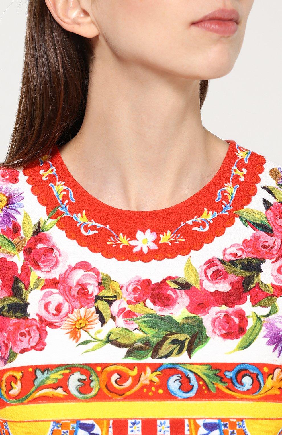Платье А-силуэта с укороченным рукавом и ярким принтом Dolce & Gabbana разноцветное   Фото №5