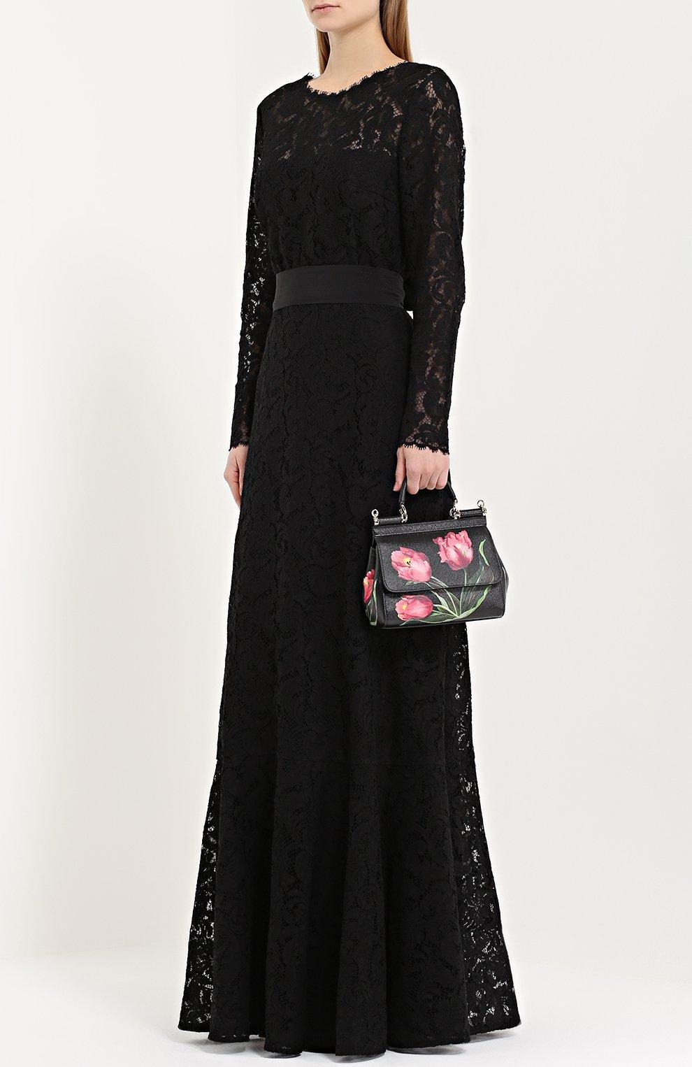 Сумка Sicily small с принтом Dolce & Gabbana черная цвета | Фото №2