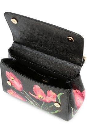 Сумка Sicily small с принтом Dolce & Gabbana черная цвета | Фото №4