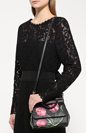 Сумка Sicily small с принтом Dolce & Gabbana черная цвета | Фото №5