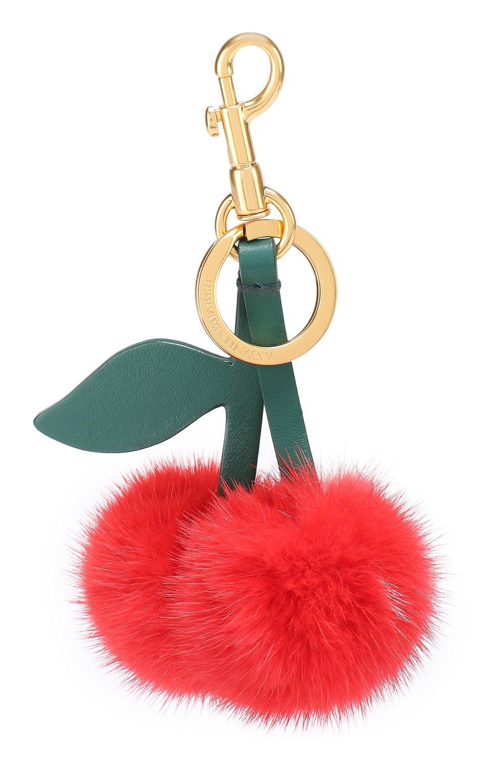 Кожаный брелок Cherry с отделкой из меха   Фото №1