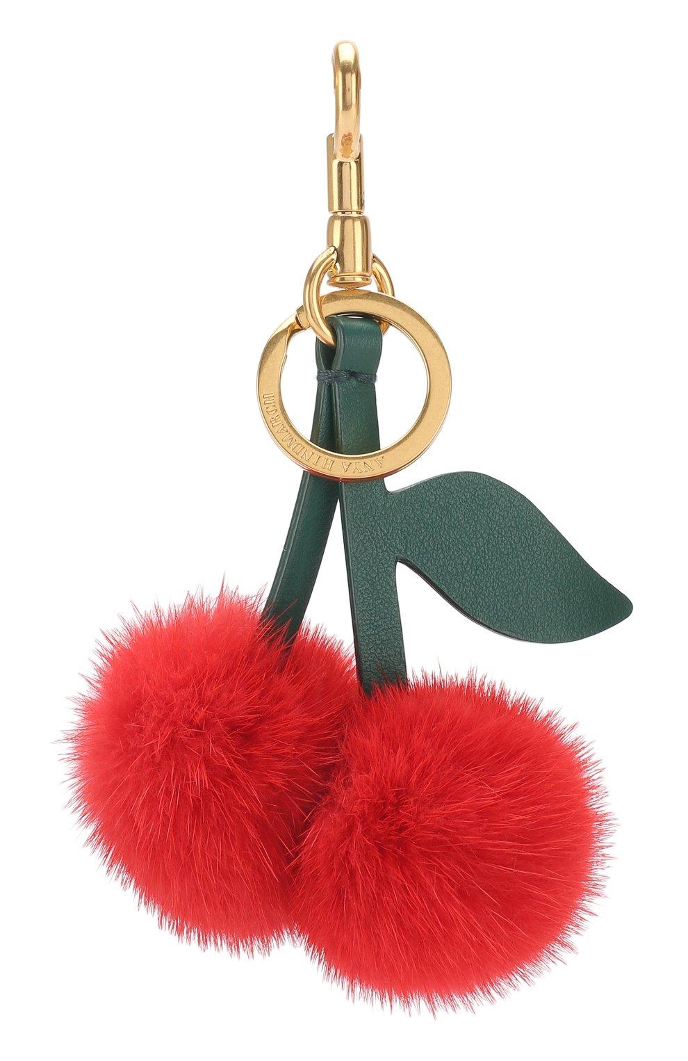 Кожаный брелок Cherry с отделкой из меха   Фото №2