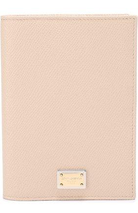 Кожаная обложка для документов Dolce & Gabbana бежевого цвета | Фото №1