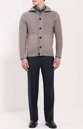 Мужской классические шерстяные брюки  CANALI темно-синего цвета, арт. AS10326/78012 | Фото 2