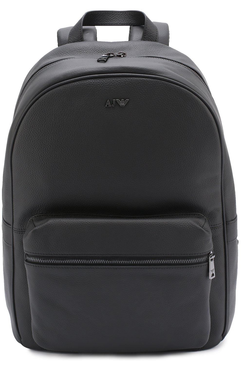 9fce4cee1dcb Кожаный рюкзак с внешним карманом на молнии Armani Jeans черный | Фото №1