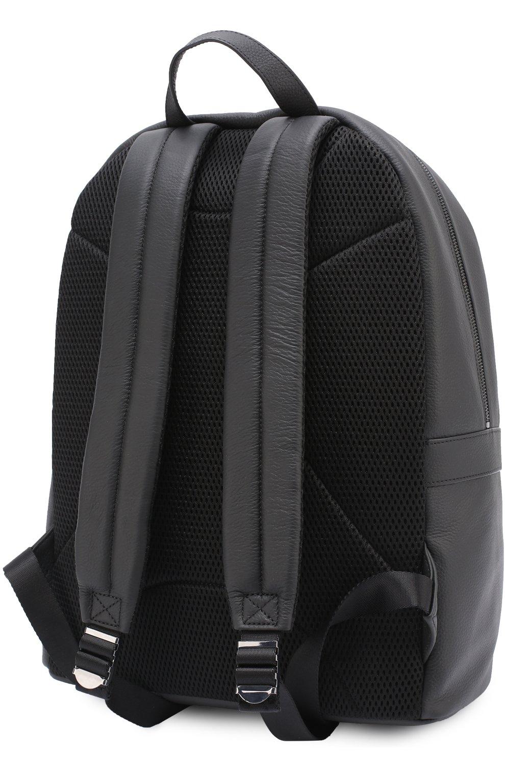 f3fbfab87c41 Кожаный рюкзак с внешним карманом на молнии Armani Jeans черный | Фото №3