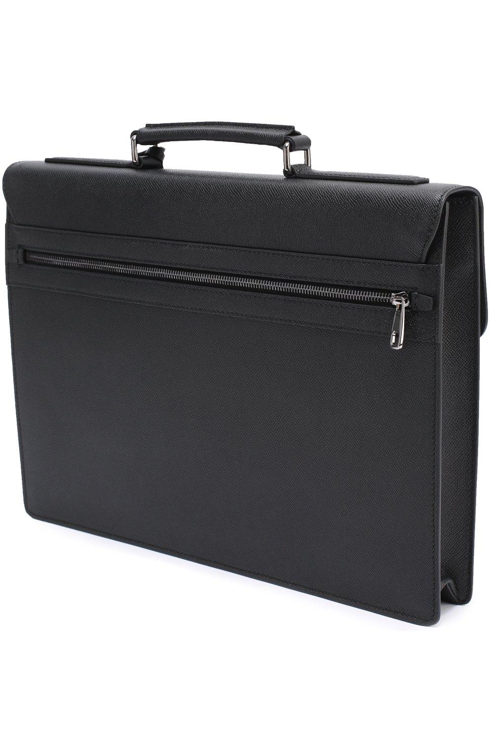 Кожаный портфель Ufficio с замком Dolce & Gabbana черный   Фото №3