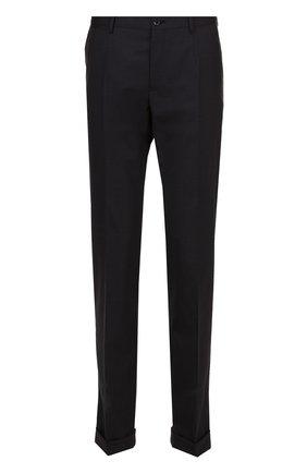 Шерстяные брюки прямого кроя Dolce & Gabbana темно-серые | Фото №1