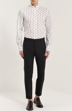 Шерстяные брюки прямого кроя Dolce & Gabbana темно-серые | Фото №2