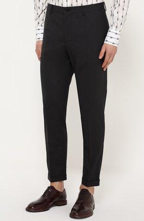 Шерстяные брюки прямого кроя Dolce & Gabbana темно-серые | Фото №3