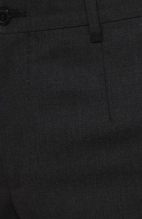 Шерстяные брюки прямого кроя Dolce & Gabbana темно-серые | Фото №5