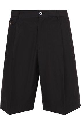 Хлопковые шорты свободного кроя с карманами Dolce & Gabbana черные | Фото №1