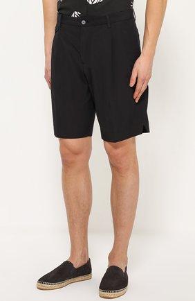 Хлопковые шорты свободного кроя с карманами Dolce & Gabbana черные | Фото №3