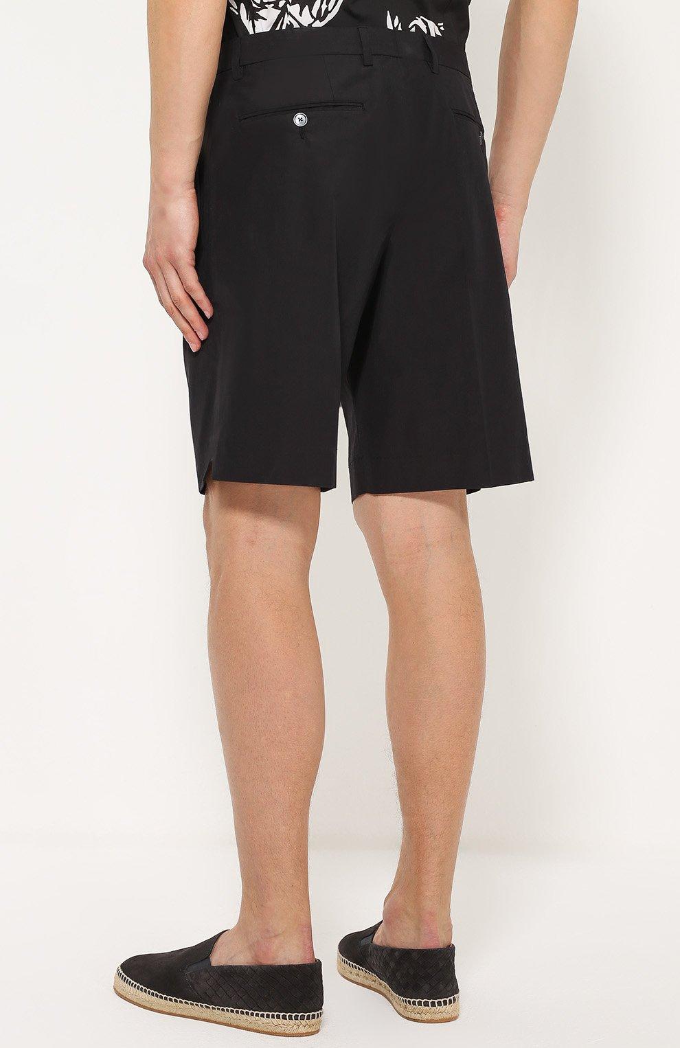 Хлопковые шорты свободного кроя с карманами Dolce & Gabbana черные | Фото №4