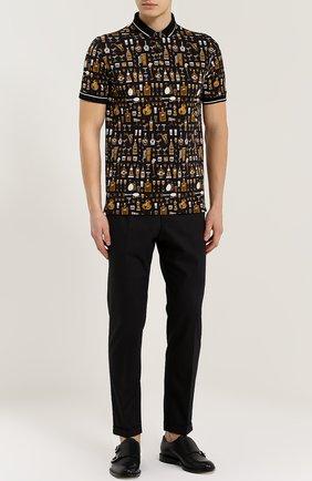 Хлопковое поло с принтом Dolce & Gabbana черное | Фото №2