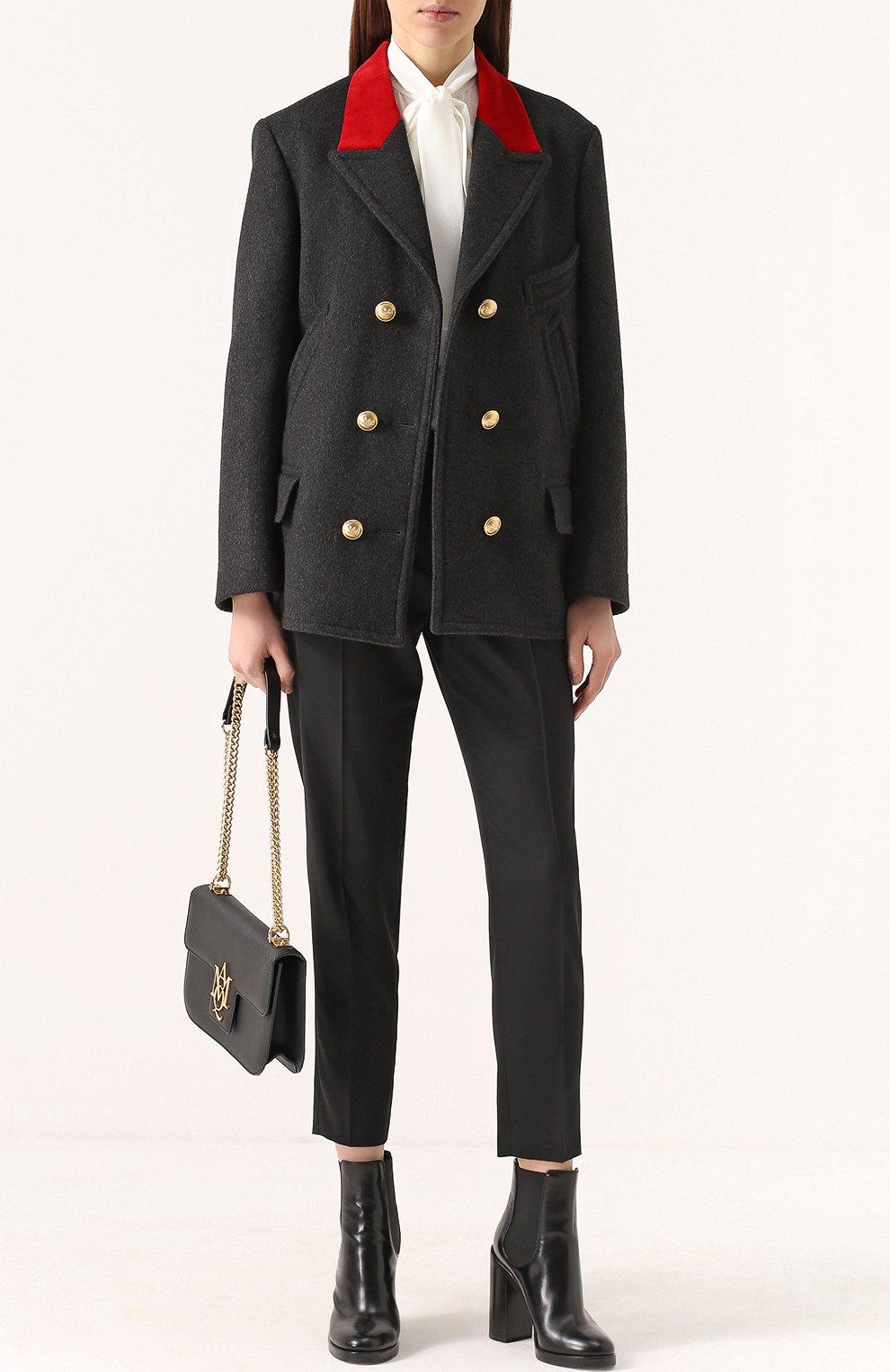 Бушлат с контрастной отделкой воротника и декорированными пуговицами Dolce & Gabbana серого цвета | Фото №2