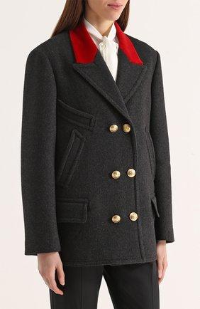 Бушлат с контрастной отделкой воротника и декорированными пуговицами Dolce & Gabbana серого цвета | Фото №3