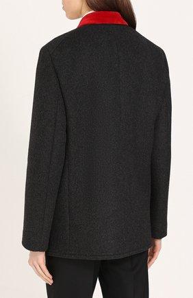 Бушлат с контрастной отделкой воротника и декорированными пуговицами Dolce & Gabbana серого цвета | Фото №4