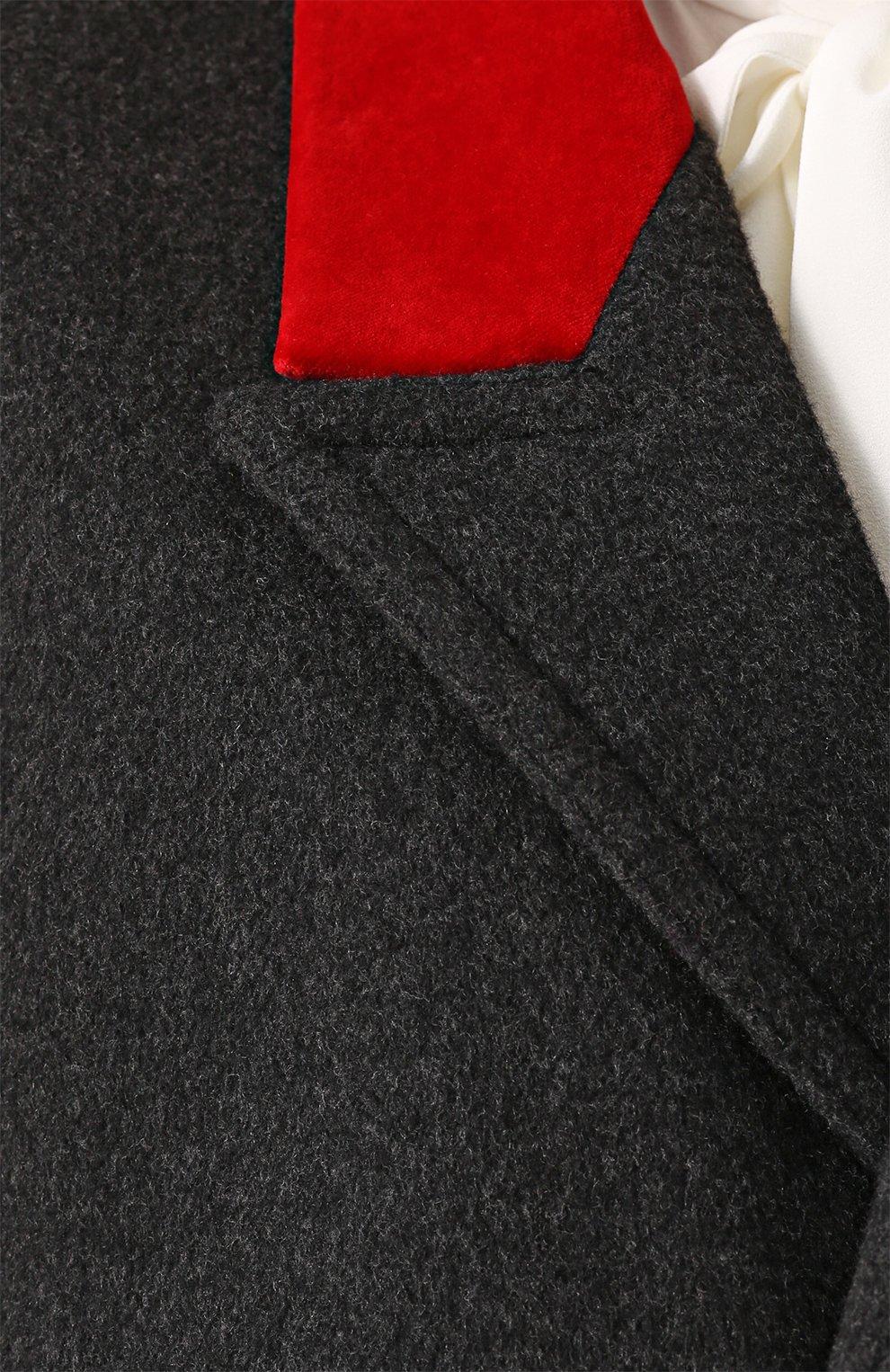 Бушлат с контрастной отделкой воротника и декорированными пуговицами Dolce & Gabbana серого цвета | Фото №5