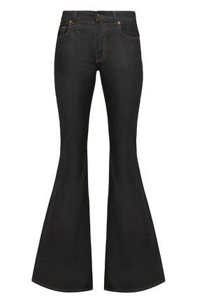 Женские расклешенные джинсы с контрастной прострочкой TOM FORD темно-синего цвета, арт. PA2350/DEX023 | Фото 1 (Длина (брюки, джинсы): Удлиненные; Статус проверки: Проверено, Проверена категория; Материал внешний: Хлопок; Силуэт Ж (брюки и джинсы): Расклешенные; Стили: Кэжуэл; Кросс-КТ: Деним)