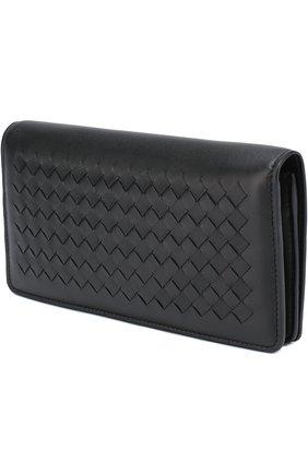 Женские кожаный бумажник с плетением intrecciato BOTTEGA VENETA черного цвета, арт. 445153/V001N | Фото 2