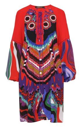Шелковая туника с ярким принтом и декоративной шнуровкой