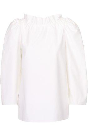 Топ прямого кроя с воротником-стойкой и рукавом-фонарик Atlantique Ascoli белый | Фото №1